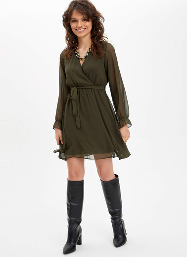 DeFacto Dokuma Elbise Yeşil